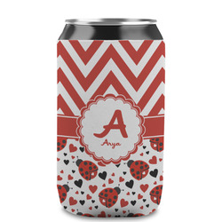 Ladybugs & Chevron Can Sleeve (12 oz) (Personalized)