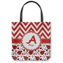 Ladybugs & Chevron Canvas Tote Bag (Personalized)