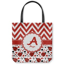 Ladybugs & Chevron Canvas Tote Bag (Personalized)