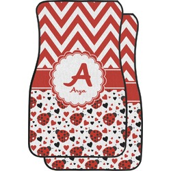 Ladybugs & Chevron Car Floor Mats (Front Seat) (Personalized)