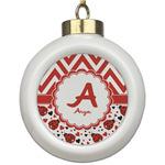 Ladybugs & Chevron Ceramic Ball Ornament (Personalized)