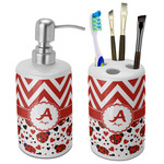 Ladybugs & Chevron Bathroom Accessories Set (Ceramic) (Personalized)
