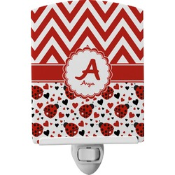Ladybugs & Chevron Ceramic Night Light (Personalized)