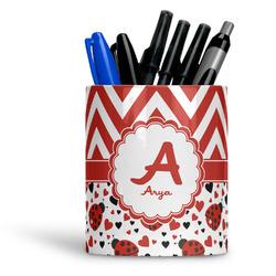 Ladybugs & Chevron Ceramic Pen Holder