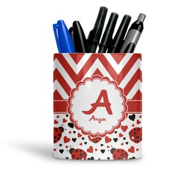 Ladybugs & Chevron Ceramic Pen Holder