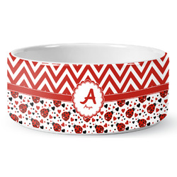 Ladybugs & Chevron Ceramic Pet Bowl (Personalized)