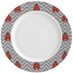 Ladybugs & Chevron Ceramic Dinner Plates (Set of 4) (Personalized)
