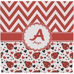 Ladybugs & Chevron Ceramic Tile Hot Pad (Personalized)