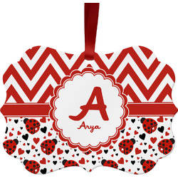Ladybugs & Chevron Ornament (Personalized)