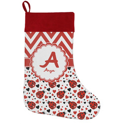 Ladybugs & Chevron Holiday Stocking w/ Name and Initial