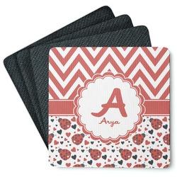 Ladybugs & Chevron 4 Square Coasters - Rubber Backed (Personalized)