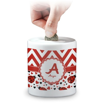 Ladybugs & Chevron Coin Bank (Personalized)