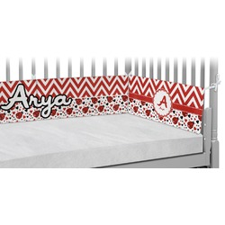 Ladybugs & Chevron Crib Bumper Pads (Personalized)