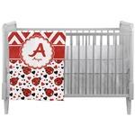 Ladybugs & Chevron Crib Comforter / Quilt (Personalized)