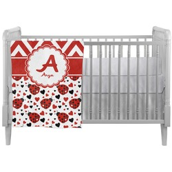 Ladybugs & Chevron Crib Comforter / Quilt (Personalized)