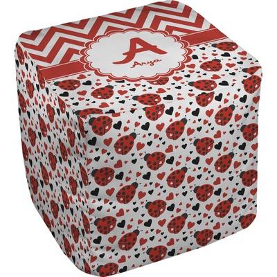 Ladybugs & Chevron Cube Pouf Ottoman (Personalized)
