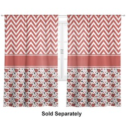 "Ladybugs & Chevron Curtains - 20""x54"" Panels - Lined (2 Panels Per Set) (Personalized)"