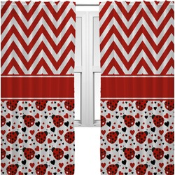 Ladybugs & Chevron Curtains (2 Panels Per Set) (Personalized)