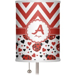 "Ladybugs & Chevron 7"" Drum Lamp Shade (Personalized)"
