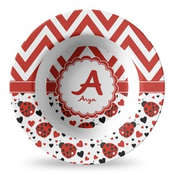 Ladybugs & Chevron Plastic Bowl - Microwave Safe - Composite Polymer (Personalized)