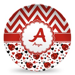 Ladybugs & Chevron Microwave Safe Plastic Plate - Composite Polymer (Personalized)