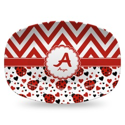 Ladybugs & Chevron Plastic Platter - Microwave & Oven Safe Composite Polymer (Personalized)