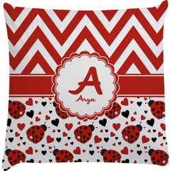 Ladybugs & Chevron Decorative Pillow Case (Personalized)