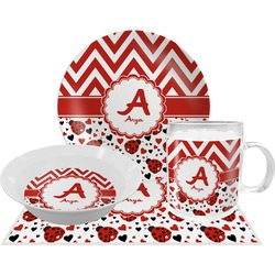 Ladybugs & Chevron Dinner Set - 4 Pc (Personalized)