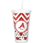 Ladybugs & Chevron Double Wall Tumbler with Straw (Personalized)