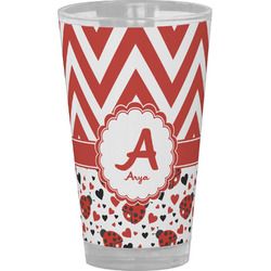Ladybugs & Chevron Drinking / Pint Glass (Personalized)