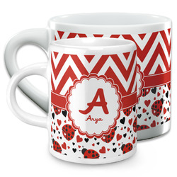 Ladybugs & Chevron Espresso Cups (Personalized)