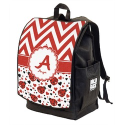 Ladybugs & Chevron Backpack w/ Front Flap  (Personalized)