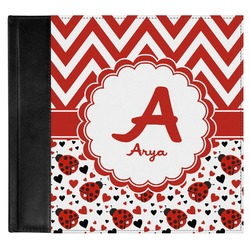 Ladybugs & Chevron Genuine Leather Baby Memory Book (Personalized)