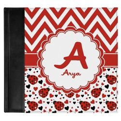 Ladybugs & Chevron Genuine Leather Baby Memory Book (Personalized)