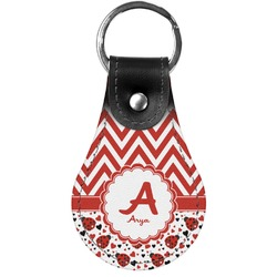 Ladybugs & Chevron Genuine Leather  Keychain (Personalized)