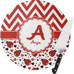 Ladybugs & Chevron Round Glass Cutting Board (Personalized)