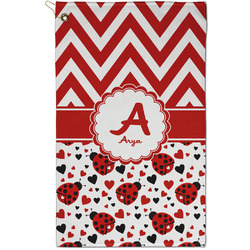 Ladybugs & Chevron Golf Towel - Full Print - Small w/ Name and Initial