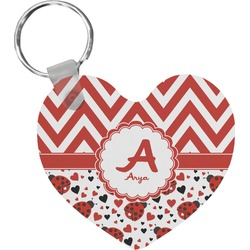 Ladybugs & Chevron Heart Plastic Keychain w/ Name and Initial