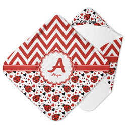 Ladybugs & Chevron Hooded Baby Towel (Personalized)