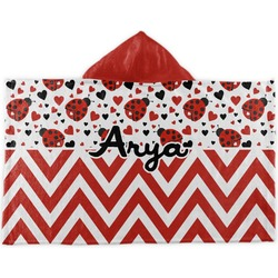 Ladybugs & Chevron Kids Hooded Towel (Personalized)