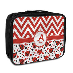 Ladybugs & Chevron Insulated Lunch Bag (Personalized)