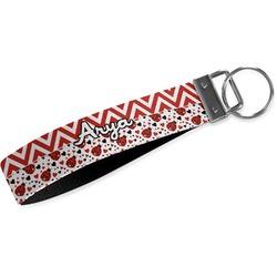 Ladybugs & Chevron Wristlet Webbing Keychain Fob (Personalized)