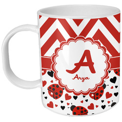 Ladybugs & Chevron Plastic Kids Mug (Personalized)