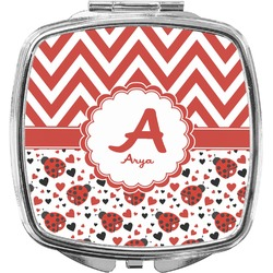 Ladybugs & Chevron Compact Makeup Mirror (Personalized)