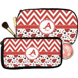 Ladybugs & Chevron Makeup / Cosmetic Bag (Personalized)