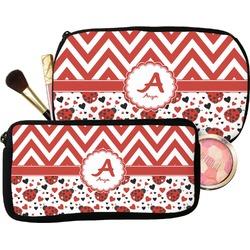 Ladybugs & Chevron Makeup / Cosmetic Bag (Personalized)