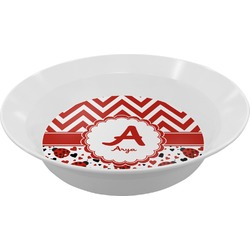 Ladybugs & Chevron Melamine Bowl (Personalized)