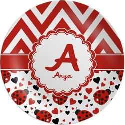 Ladybugs & Chevron Melamine Plate (Personalized)