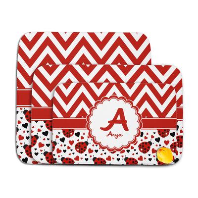 Ladybugs & Chevron Memory Foam Bath Mat (Personalized)
