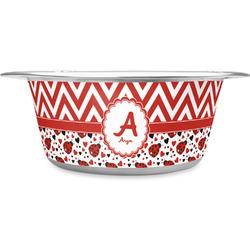Ladybugs & Chevron Stainless Steel Dog Bowl (Personalized)